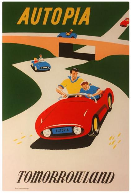 Bjorn Aronson - Disneyland Autopia Poster 1959