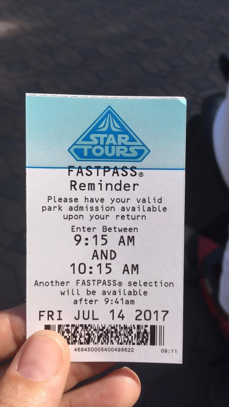 StarTours FastPass - 30 Minute Rule Change