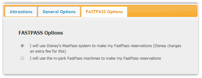 RideMax FastPass / MaxPass Options